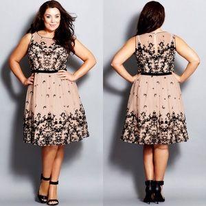 [City Chic] Flocked Flirt Cocktail Dress